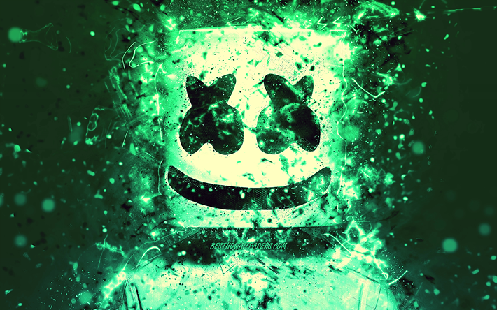 4k, Christopher Comstock, turkos neon, fan art, kreativa, DJ Marshmello, american DJ, Marshmello 4k, Marshmello DJ, superstars, Marshmello, Dj: s