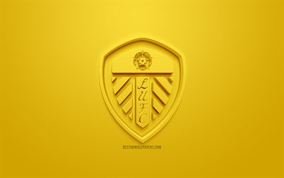 Leeds United FC, creative 3D logo, yellow background, 3d emblem, English football club, EFL Championship, Leeds, England, UK, English Football League Championship, 3d art, football, 3d logo
