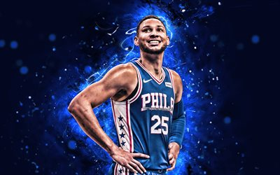 4k, ben simmons, csloe -, basketball-stars, philadelphia 76ers, nba, abstrakte kunst, benjamin david simmons, neon lichter, basketball, usa