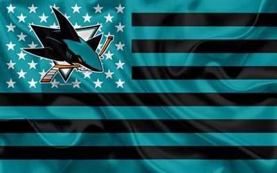 San Jose Sharks, American hockey club, American creative flag, turquoise black flag, NHL, San Jose, California, USA, logo, emblem, silk flag, National Hockey League, hockey