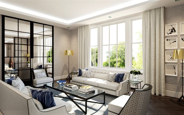 living room project, modern interior design, english style, living room, white sofas