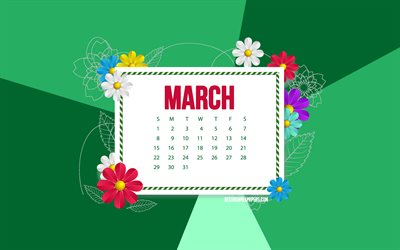2020 March Calendar, green background, frame with flowers, 2020 spring calendars, March, flowers art, March 2020 calendar