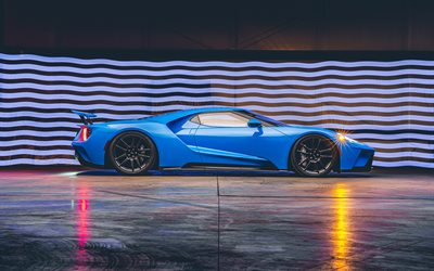 Ford GT, H040, side view, exterior, blue sports coupe, Ford GT Riviera Blue, racing car, tuning Ford GT, american sports cars, Ford, new blue Ford GT