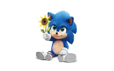 Sonic with flower, 4k, Shadow the Hedgehog, minimalism, Sonic The Hedgehog, Sonic, 2020 movie, white backgrounds, Blue Sonic