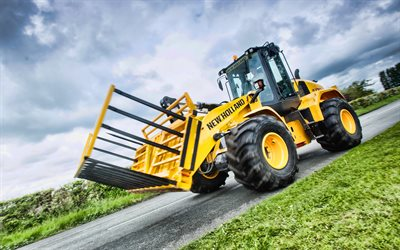 4k, New Holland W170C, road, front loader, 2020 tractors, agricultural machinery, tractor, harvest, New Holland