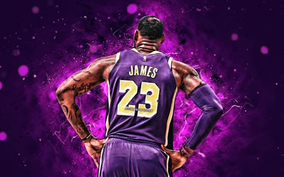 4k, LeBron James, back view, NBA, Los Angeles Lakers, violet uniform, basketball stars, LeBron Raymone James Sr, neon lights, LeBron James 4K, basketball, LA Lakers, creative, LeBron James Lakers