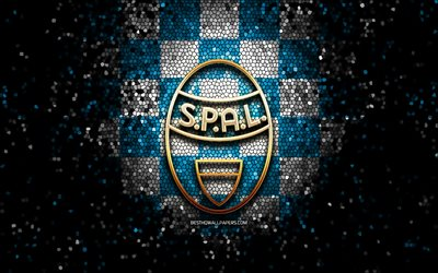 Spal FC, glitter logo, Serie A, blue white checkered background, soccer, FC Spal, italian football club, Spal logo, mosaic art, football, Italy