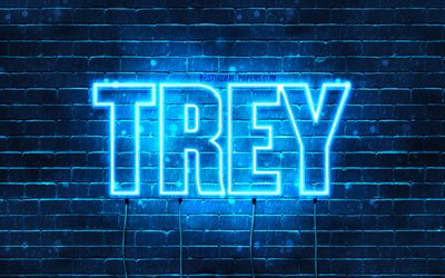 Download Wallpapers Trey 4k Wallpapers With Names Horizontal Text Trey Name Blue Neon Lights Picture With Trey Name For Desktop Free Pictures For Desktop Free