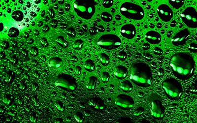 4k, drops patterns, background with drops, water drops texture, macro, drops on glass, green backgrounds, water drops, water backgrounds, drops texture, water, drops on green background