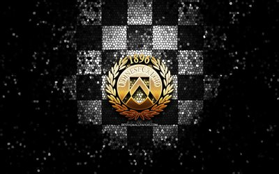 Udinese FC, glitter logo, Serie A, black white checkered background, soccer, Udinese Calcio, italian football club, Udinese logo, mosaic art, football, Italy