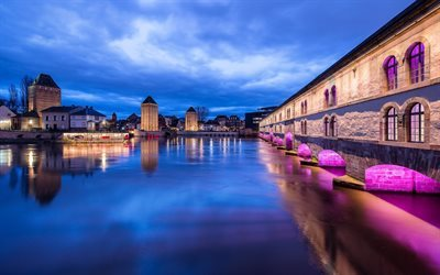 Strasbourg, river, Vaubana Dam, nightscape, France