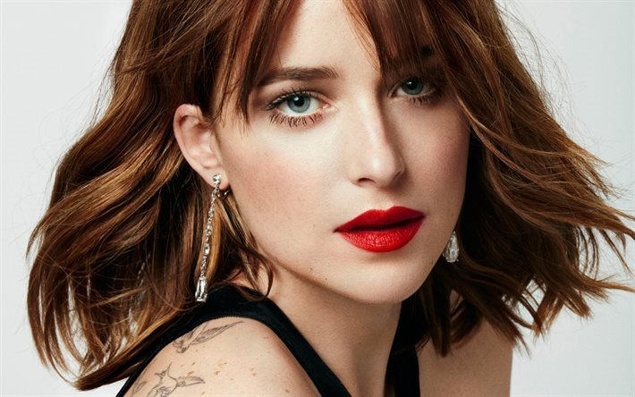 Dakota Johnson, American actress, portrait, make-up, beautiful woman