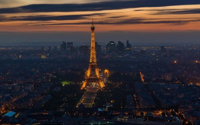 Eiffel Tower, Paris, France, night, metropolis, capital of France