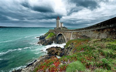 Brittany, coast, lighthouse, sea, Finistere, France