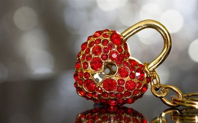 lock heart, golden lock, rubies, precious stones, red gems