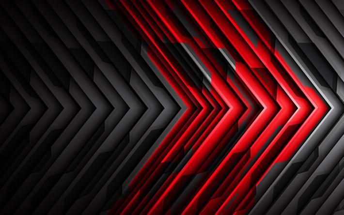 Scarica Sfondi Nero E Rosso Astrazione High Tech Sfondo Creativo