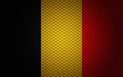 Flag of Belgium, 4k, creative art, metal mesh texture, Belgian flag, national symbol, Belgium, Europe, flags of European countries