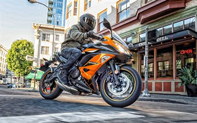 Kawasaki Ninja 650, 2019, new sport bike, exterior, black-orange Ninja 650, japanese sportbikes, Kawasaki