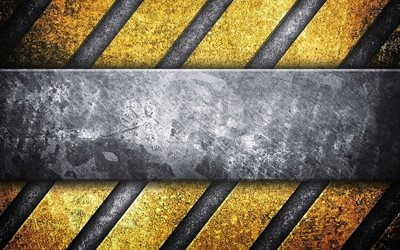 steel plate, 4k, caution strips, warning background, grunge, metal backgrounds, yellow lines, warning tapes