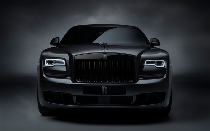 Rolls-Royce Ghost Black Badge, 4k, front view, 2019 cars, luxury cars, tuning, 2019 Rolls-Royce Ghost, british cars, Rolls-Royce