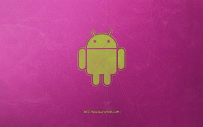Android, green logo, robot, pink background, retro style, Android retro emblem, creative art