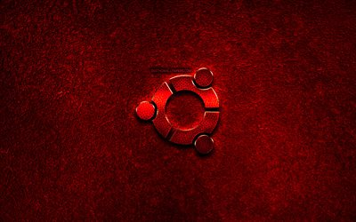Ubuntu logo, red stone background, OS, creative, Ubuntu, brands, Ubuntu 3D logo, artwork, Ubuntu red metal logo