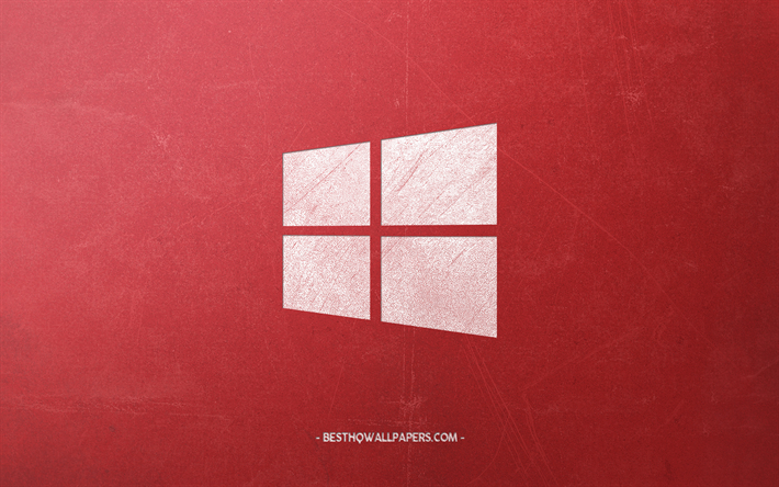 Windows 10, logo, red retro background, emblem, retro style, Windows, retro art