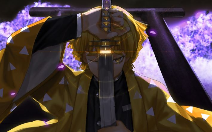 Download Wallpapers Zenitsu Agatsuma With Sword Darkness