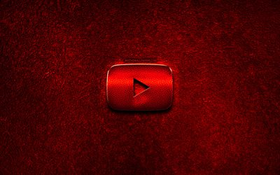 Youtube logo, red stone background, creative, Youtube, brands, Youtube 3D logo, artwork, Youtube red metal logo