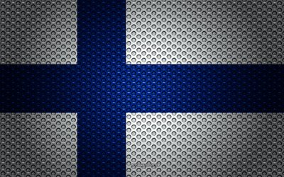 Flag of Finland, 4k, creative art, metal mesh texture, Finnish flag, national symbol, Finland, Europe, flags of European countries