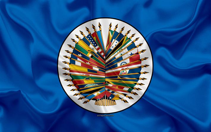 Bandera de la Organización de Estados Americanos, la Bandera de la OEA, de seda azul de la bandera, 4k, seda textura, estados UNIDOS, símbolos oficiales, Organización de los Estados Americanos