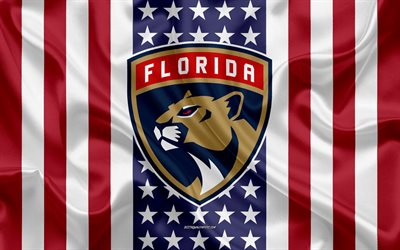 florida panthers, 4k, logo, emblem, seide textur, amerikanische flagge, amerikanische eishockey-club, nhl, sunrise, florida, usa, national hockey league, eishockey, seide flagge