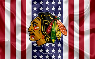 chicago blackhawks, 4k, logo, emblem, seide textur, amerikanische flagge, amerikanische eishockey-club, nhl, chicago, illinois, national hockey league, eishockey, seide flagge