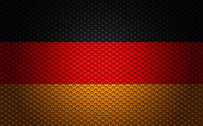 Flag of Germany, 4k, creative art, metal mesh texture, German flag, national symbol, Germany, Europe, flags of European countries
