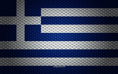 Flag of Greece, 4k, creative art, metal mesh texture, Greek flag, national symbol, Greece, Europe, flags of European countries