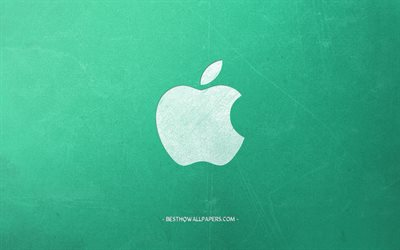 Apple logo, green retro background, creative art, emblem, retro style, Apple retro logo
