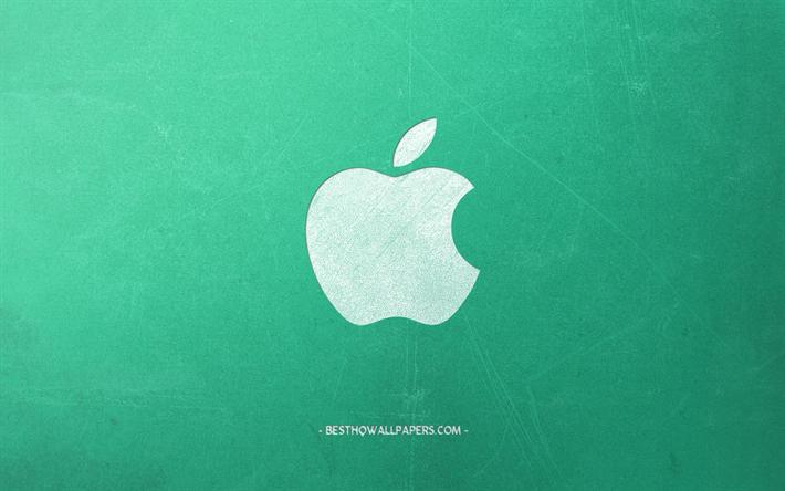 Indir Duvar Kağıdı Apple Logosu Yeşil Retro Arka Plan Yaratıcı