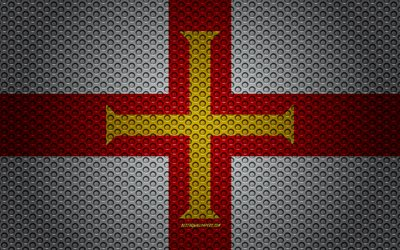 Flag of Guernsey Channel Islands, 4k, creative art, metal mesh texture, Guernsey Channel Islands flag, national symbol, Guernsey Channel Islands, Europe, flags of European countries