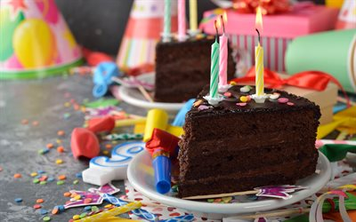 Happy Birthday, chocolate cake, candles, greeting card, birthday concepts, sweets, cakes