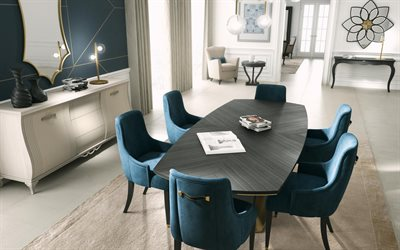 dining room, stylish interior, classic style, modern interior design, gray table, blue-white dining room