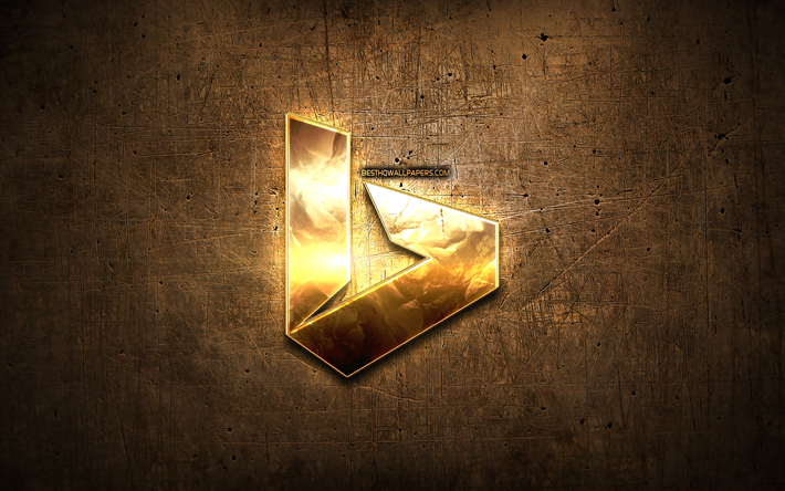 Bing golden logo, creative, search system, brown metal background, Bing logo, brands, Bing