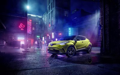 4k, Toyota C-HR, night city, 2019 cars, crossovers, JBL, tuning, Neon Lime, 2019 Toyota C-HR, japanese cars, Toyota