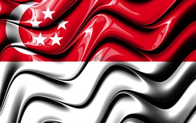 Singapore flagga, 4k, Asien, nationella symboler, Flaggan i Singapore, 3D-konst, Singapore, Asiatiska länder, Singapore 3D-flagga