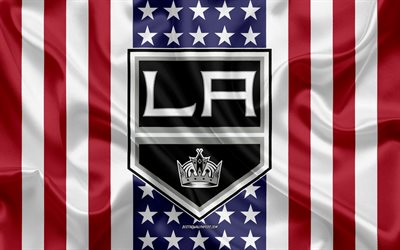 los angeles kings, 4k, logo, emblem, seide textur, amerikanische flagge, amerikanische eishockey-club, nhl, los angeles, kalifornien, usa, national hockey league, hockey, seide flagge