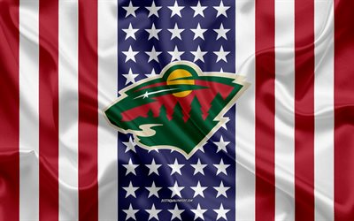 minnesota wild, 4k, logo, emblem, seide textur, amerikanische flagge, amerikanische eishockey-club, nhl, st paul, minnesota, usa, national hockey league, eishockey, seide flagge