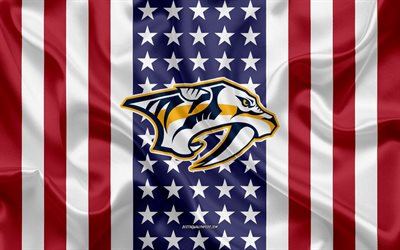 nashville predators, 4k, logo, emblem, seide textur, amerikanische flagge, amerikanische eishockey-club, nhl, nashville, tennessee, usa, national hockey league, eishockey, seide flagge