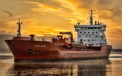 Sten Frigg, oil tanker, sunset, cargo ship, chemical carrier, Sten Frigg tanker