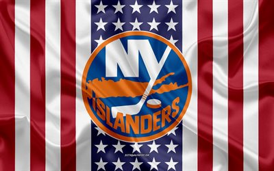 new york islanders, 4k, logo, emblem, seide textur, amerikanische flagge, amerikanische eishockey-club, nhl, new york, usa, national hockey league, hockey, seide flagge
