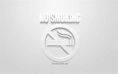 No Smoking, 3d white icon, white background, 3d symbols, No Smoking concepts