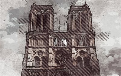 Notre-Dame de Paris, creative art, Catholic cathedral, Paris, France, grunge art, facade